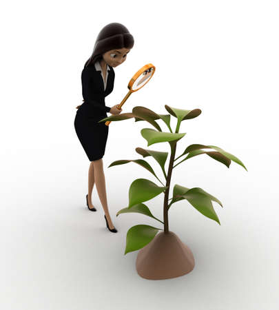 examine: 3d woman examine plant of tree concept on white background,  side angle view