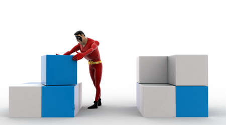 rearrange: 3d superhero  rearrange cubes concept on white background, front angle view