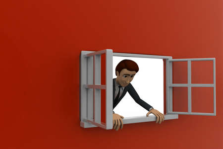 man looking out: 3d man looking out of window concept on red background, side angle view Stock Photo