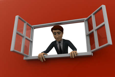 man looking out: 3d man looking out of window concept on red background,  low angle view