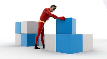 rearrange: 3d superhero  rearrange cubes concept on white background,  back angle view