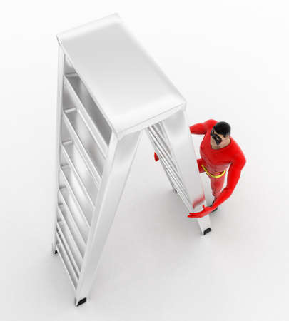 sided: 3d superhero  climb double sided ladder concept on white background, top angle view