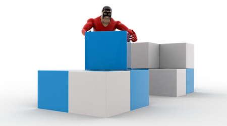 rearrange: 3d superhero  rearrange cubes concept on white background, side angle view