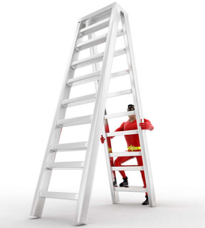 sided: 3d superhero  climb double sided ladder concept on white background, side angle view Stock Photo