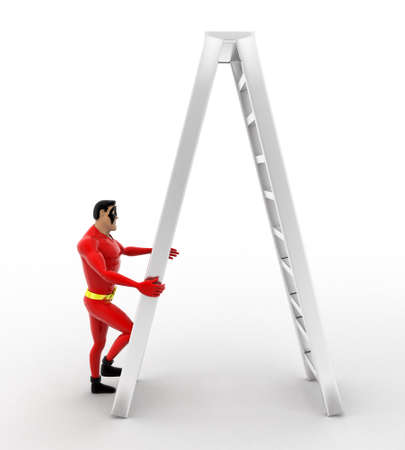 sided: 3d superhero  climb double sided ladder concept on white background, front angle view