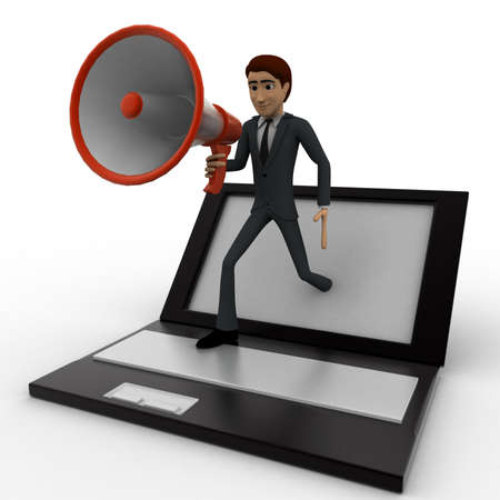 popping: 3d man popping out of laptop with mic concept on white background, front angle view