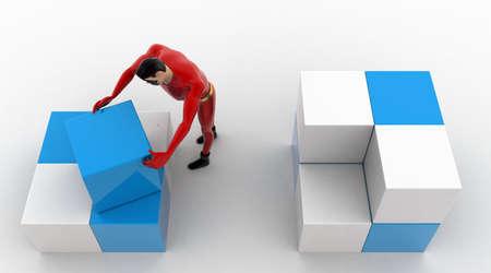 rearrange: 3d superhero  rearrange cubes concept on white background,  top angle view