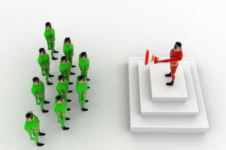 three dimensions: 3d superhero  leader giving speech to group of superhero s concept on white background, top angle view