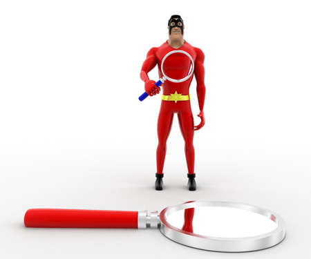 to examine: 3d superhero  examine magnifying glass with magnifying glass concept on white background, front angle view Stock Photo