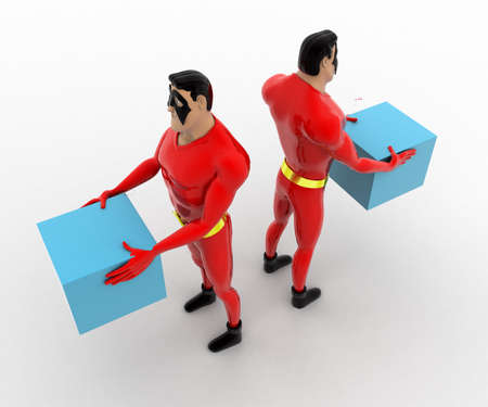 another: 3d superhero  taking blue cube from another superhero  concept on white background, top angle view