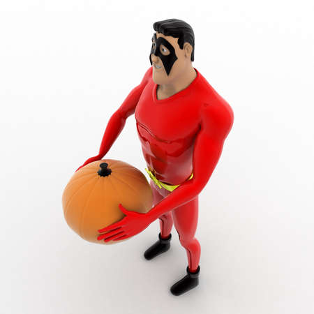 three dimensions: 3d superhero  holding pumpkin in hand concept on white background, top angle view