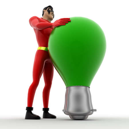 angle: 3d superhero  with white bulb concept on white background,  low angle view