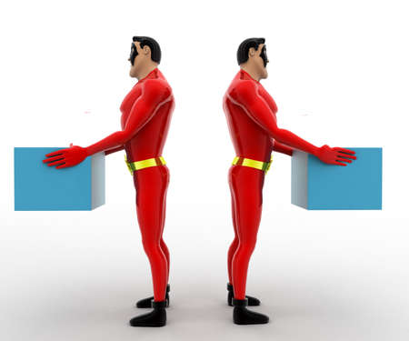 another: 3d superhero  taking blue cube from another superhero  concept on white background, front angle view