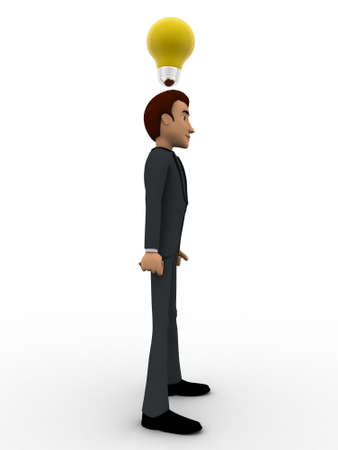 yellow bulb: 3d man thinking and with yellow bulb concept on white background, side angle view