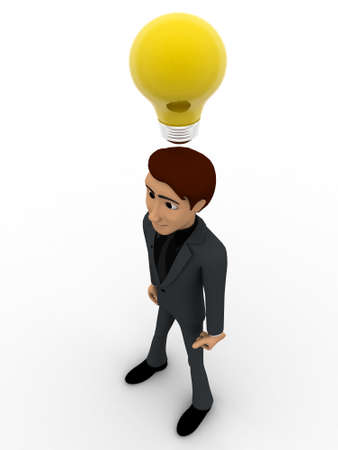 yellow bulb: 3d man thinking and with yellow bulb concept on white background, top angle view