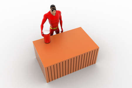 three dimensions: 3d superhero  with red glass on table concept on white background, top angle view