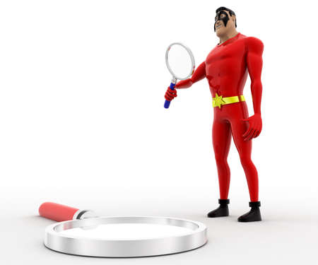 examine: 3d superhero  examine magnifying glass with magnifying glass concept on white background, side angle view Stock Photo