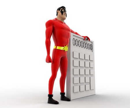 three dimensions: 3d superhero  with white calculator concept on white background, side angle view