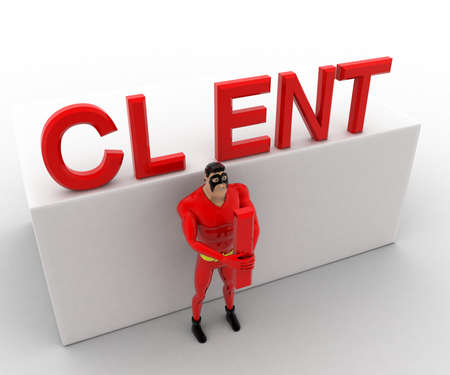 angle: 3d superhero  holding letter I of client tect concept on white background, top angle view