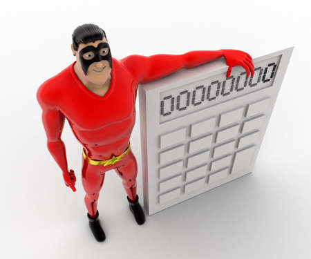 three dimensions: 3d superhero  with white calculator concept on white background, top angle view Stock Photo