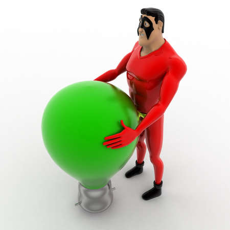 three dimensions: 3d superhero  with white bulb concept on white background,  top angle view