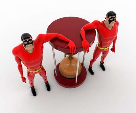beside: 3d superhero  standing beside sand clock concept on white background, top angle view