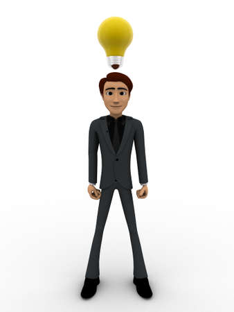 yellow bulb: 3d man thinking and with yellow bulb concept on white background, front angle view