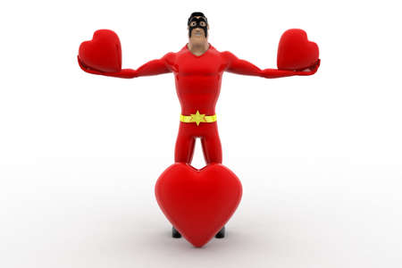three dimensions: 3d superhero  holding three heart concept on white background, front angle view