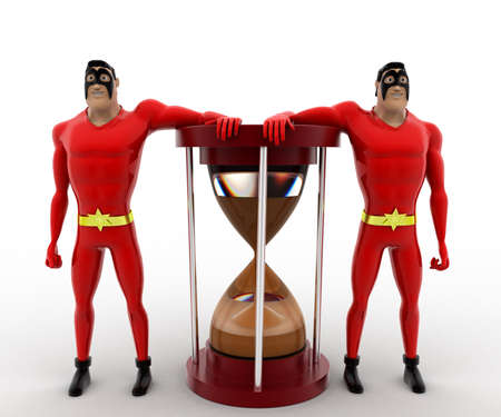 beside: 3d superhero  standing beside sand clock concept on white background, front angle view