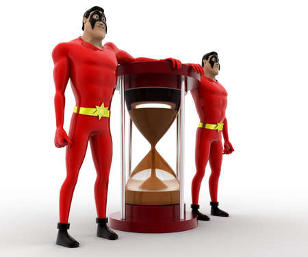 beside: 3d superhero  standing beside sand clock concept on white background, side angle view