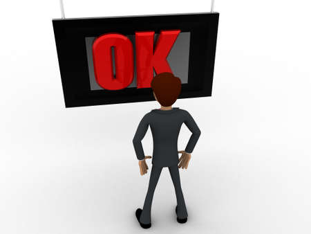 viewing angle: 3d man watching ok on tv screen concept on white background, top angle view Stock Photo