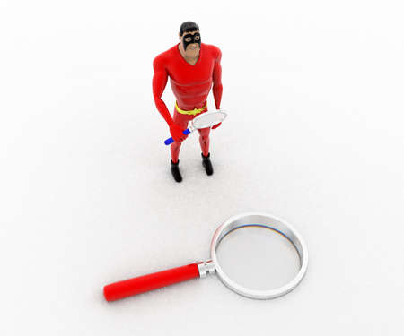 examine: 3d superhero  examine magnifying glass with magnifying glass concept on white background, top angle view Stock Photo