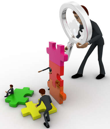 examine: 3d big man examine puzzle construction work of small men concept on white background, top angle view