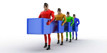 superheros: 3d superheros in queue and holding square cubes concept on white background, front angle view Stock Photo