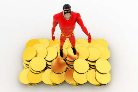 showoff: 3d superhero golden coins conceptconcept on white background, top angle view Stock Photo