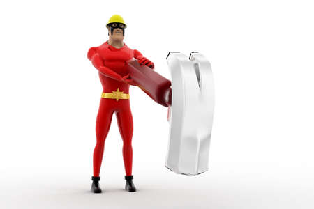 heavily: 3d superhero hit heavily hammer on floor concept on white background, front angle view