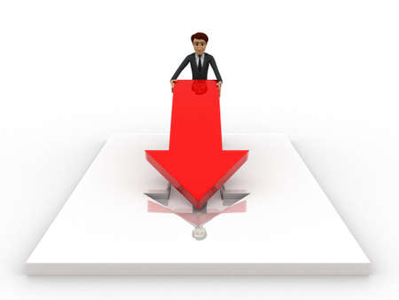 fixing: 3d man placing and fixing red arrow on  floor concept on white background, front angle view
