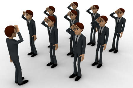saluting: 3d group of military men saluting officer concept on white background, side angle view