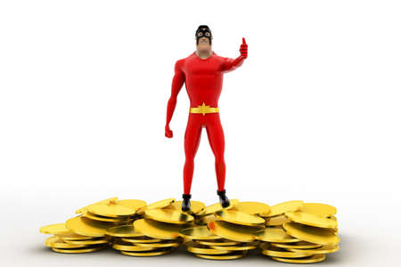 showoff: 3d superhero golden coins conceptconcept on white background, front angle view Stock Photo