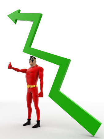 under view: 3d superhero stand under green arrow concept on white background, side angle view Stock Photo