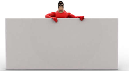 from behind: 3d superhero hide behind white wall concept on white background, front angle view
