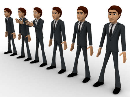 represent: 3d group of men standing in line to represent team concept on white background,  side angle view