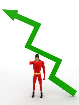 under view: 3d superhero stand under green arrow concept on white background, front angle view