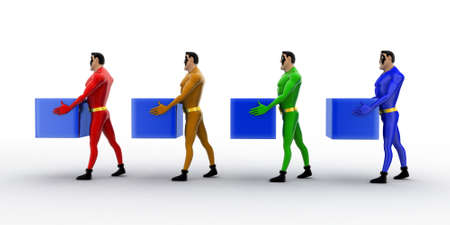 superheros: 3d superheros in queue and holding square cubes concept on white background , side angle view Stock Photo