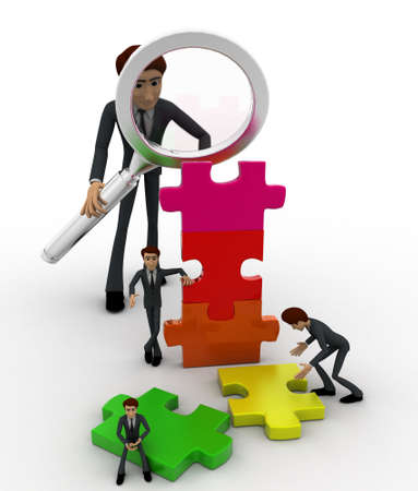 examine: 3d big man examine puzzle construction work of small men concept on white background, front angle view