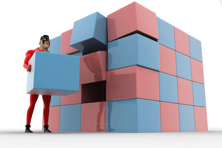 big and small: 3d superhero making big cube from small pink and blue cubes concept on white background, low angle view
