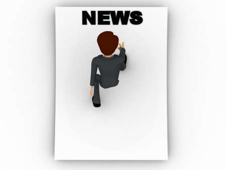 reading news: 3d man reading news text on blank paper concept on white background, top angle view