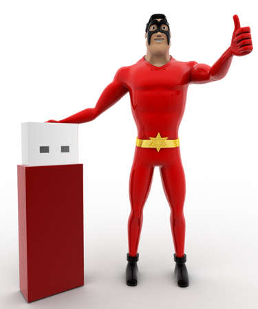 tb: 3d superhero with usb pendrive concept on white background, front angle view Stock Photo
