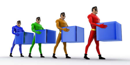 queue: 3d superheros in queue and holding square cubes concept on white background, side angle view