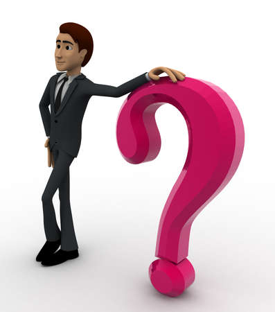 beside: 3d man standing beside pink question mark symbol concept on white background,  side angle view Stock Photo